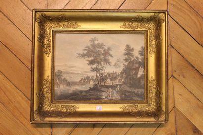 Gravure du XIXe siècle Paysage animé de scènes...