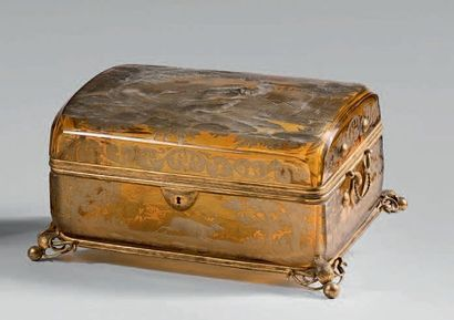Coffret à bijoux en cristal ambré gravé de...