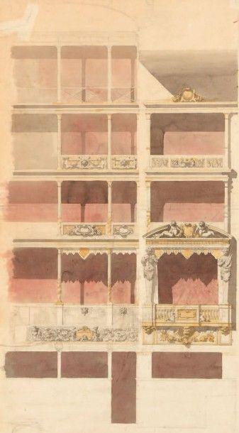 École Française du XIXe siècle Étude de loges de théâtre Crayon, aquarelle. 86 x...