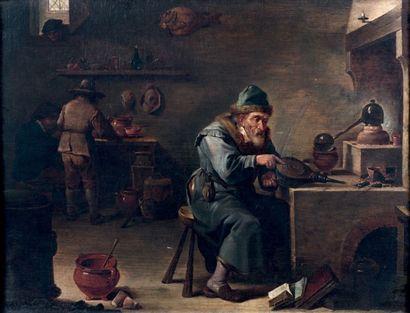 Ecole Flamande du XVIIIe siècle L'alchimiste, d'après David Téniers Huile sur toile,...