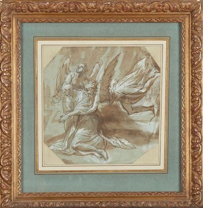 Jacopo ZANGUIDI dit IL BERTOJA (1544-1573) Le Christ au jardin de Gethsemani soutenu...