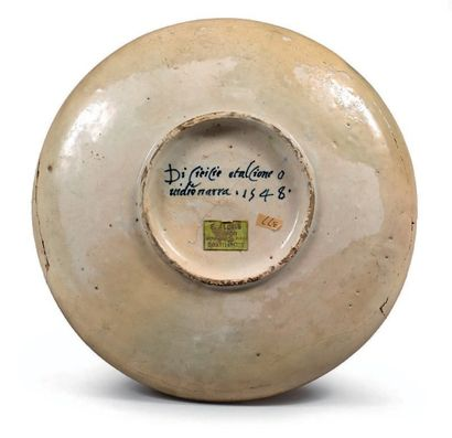 PESARO Daté 1548 Coupe ronde à décor polychrome dit a istoriato en plein d'une scène...