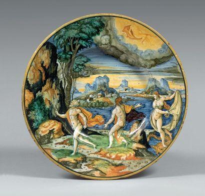 URBINO Daté 1541 Plat rond à décor polychrome dit a istoriato en plein d'une scène...