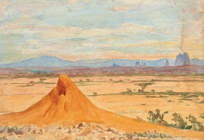 Henry de MONFREID (1879-1974)(nos 29 à 89) Kenya, Plaine d'Aïcha, 1937 Aquarelle,...