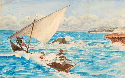 Henry de MONFREID (1879-1974)(nos 29 à 89) Voile blanche à l'île Moucha, 1936 Aquarelle,...