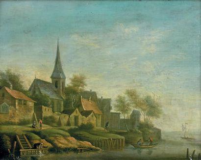 Ecole Flamande de la fin du XVIIIe siècle Village animé de personnage devant un paysage...