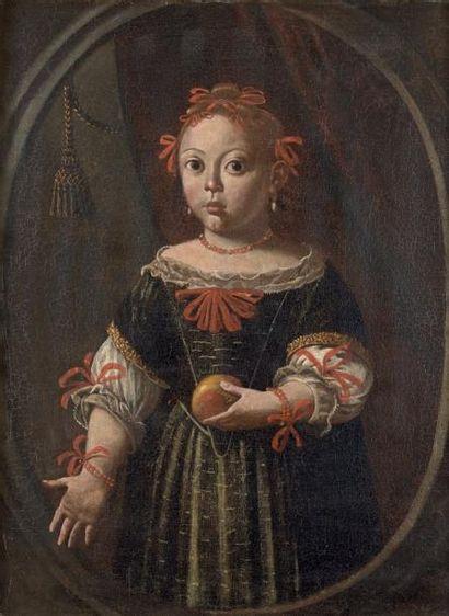 Ecole italienne du XVIIe siècle Portrait de jeune fille à la pomme Huile sur toile...