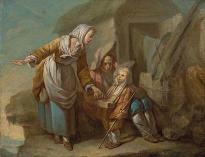 ÉCOLE FRANÇAISE dans le genre de Greuze La petite marchande Huile sur toile. 31 x...