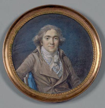 Nicolas Dubois (1746-1826) Portrait d'homme Miniature. Diam.: 6,9 cm Signée à dr...