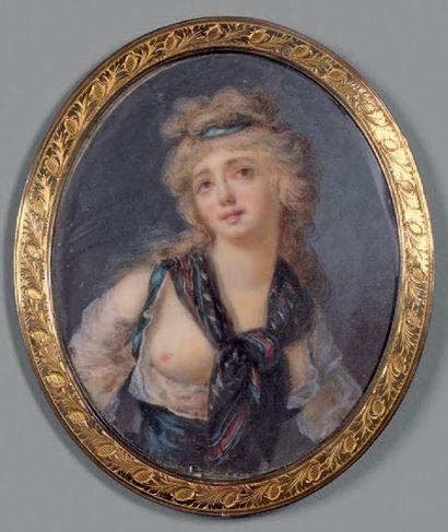 École FRANÇAISE de la fin du XVIIIe siècle Portrait de femme aux seins nus Miniature....