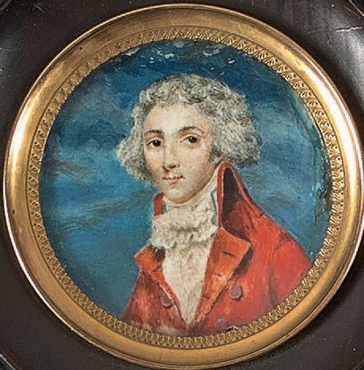 École FRANÇAISE de la fin du XVIIIe siècle Portrait d'homme à la redingote rouge...