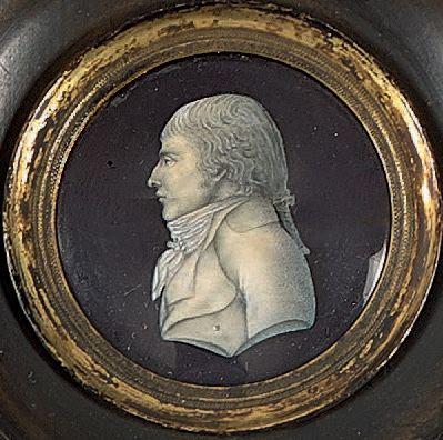 Attribué à Piat SAUVAGE (1744-1818) Portrait d'homme de profil Miniature. Diam.:...