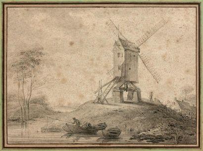 Ecole Flamande du XVIIIe siècle Paysage au moulin à vent, animé de personnages Plume,...