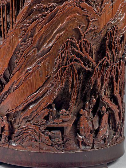CHINE – Epoque Kangxi (1662-1722) PORTE-PINCEAUX bitong quadripode en bambou sculpté...