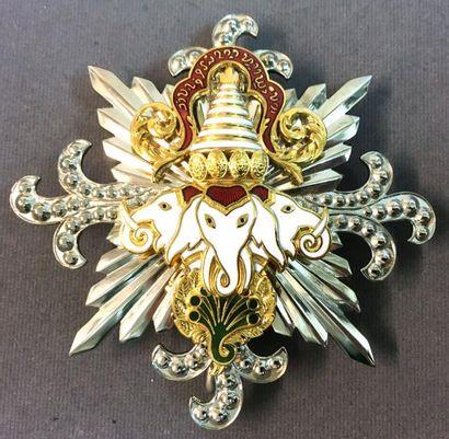 Laos - Ordre du Million d'Éléphants et du Parasol Blanc, fondé en 1909, plaque de...
