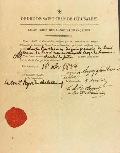 Ordre de Malte, confirmé en 1113, attestation...