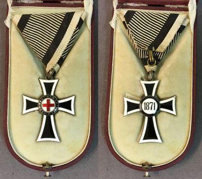 Autriche-Hongrie - Ordre Teutonique, croix Marian, en argent et émail (cheveux à...