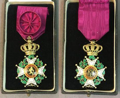 Belgique - Ordre de Léopold, fondé en 1832, croix d'officier à titre civil du modèle...