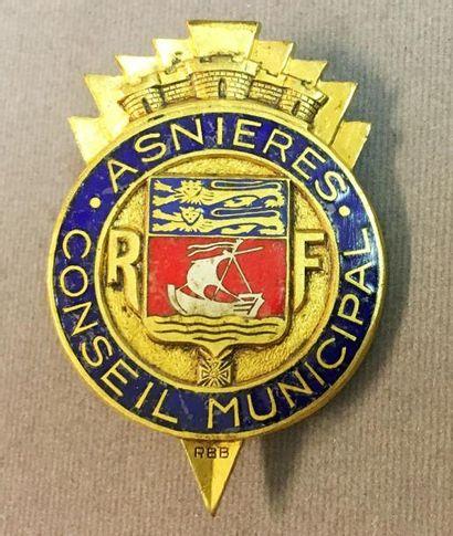 Asnières - Insigne de membre du Conseil Municipal...