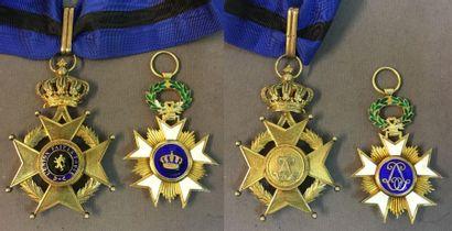 Belgique - Lot de deux: ordre de Léopold II, une croix de commandeur de fabrication...