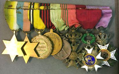 Belgique - Seconde guerre mondiale, portée de huit décorations de taille ordonnance...