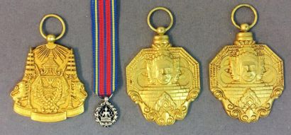 Cambodge - Lot de quatre médailles sans rubans:...
