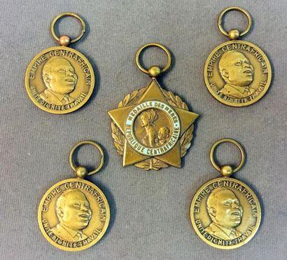 Centrafrique - Lot de cinq médailles sans...