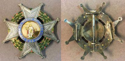 Espagne - Ordre de Saint-Ferdinand, plaque de chevalier grand-croix laurée en argent...