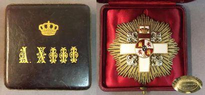 Espagne - Ordre du Mérite Militaire, fondé en 1864, plaque de grand-croix en vermeil...
