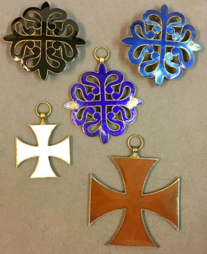 Espagne - Lot de cinq croix d'ordres privés...