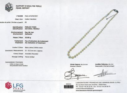 Collier de soixante-cinq perles fines en chute, le fermoir en or gris 750 millièmes...