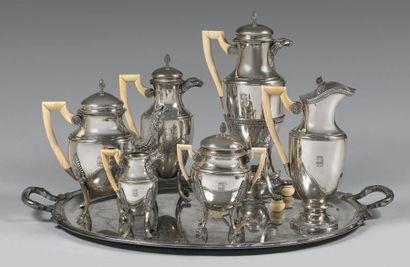 Service à thé-café en argent uni 925 millièmes...