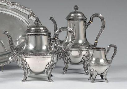 Service à thé-café trois pièces en argent...