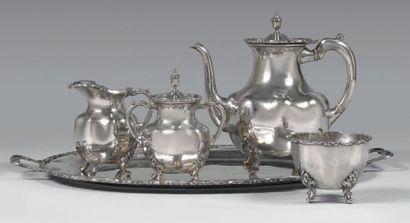 Service à thé en argent 925 millièmes uni,...