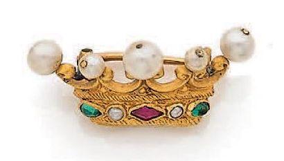 Broche «couronne» en or jaune 750 millièmes...
