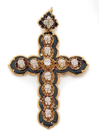 Pendentif croix en or jaune 750 millièmes...