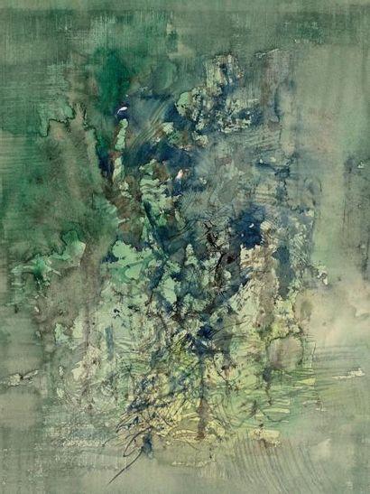 ZAO WOU-KI (1924 - 2013) Sans titre, fond vert, 1958 Aquarelle et encre, signée et...