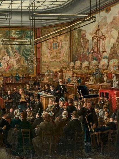 Eugène Benjamin FICHEL (1826-1895) À l'hôtel Drouot, 1876 Huile sur toile, signée...