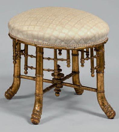 Petit tabouret circulaire en bois doré «bambou»....