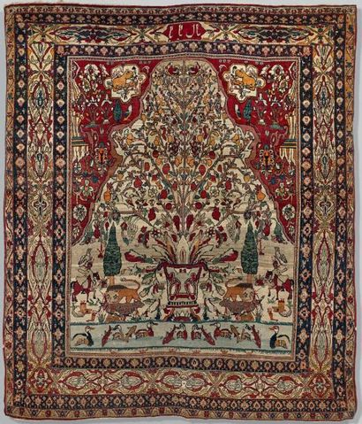 Tapis persan Keshan ou Ispahan décoré d'un...