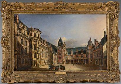 Étienne DUPUIS (expose au Salon de 1839 à 1844) Vue de la grande cour du château...