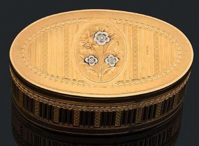 Boîte ovale en or 750 millièmes de deux tons...