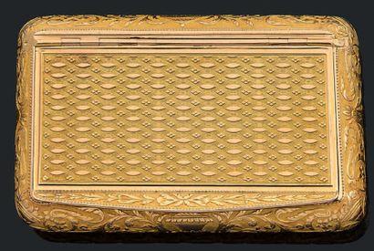 Boîte en or jaune 750 millièmes guilloché...