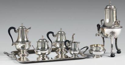 Service à thé-café en argent en argent uni...