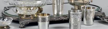 Surtout de table, la monture en métal argenté...