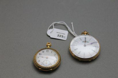 Lot de deux montres de dame en or jaune 750...