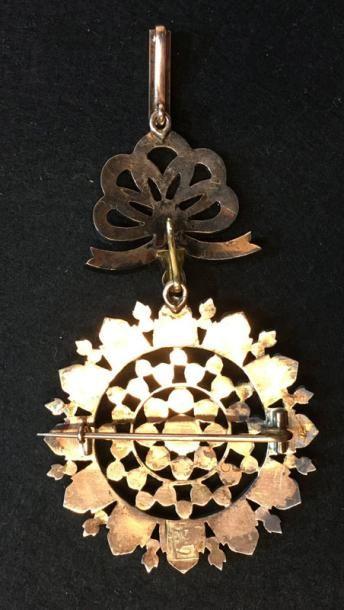 Nichan ad-Dam, ou ordre du Sang, institué vers 1840, important bijou en or et argent...