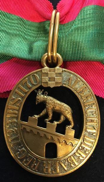Duché d'Anhalt - Ordre d'Albert l'Ours, fondé en 1836, bijou de commandeur en bronze...