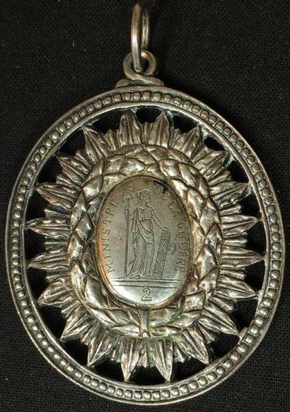 Insigne de magistrat en bronze argenté figurant...