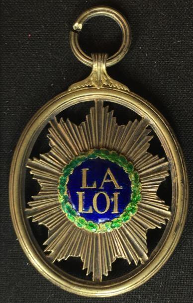Insigne de magistrat en bronze doré ajouré,...